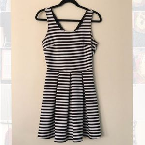 Aqua Black & White Stripe Aline Dress Size m